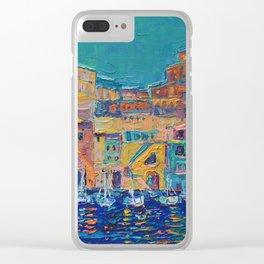Bay of Naples #3 - modern palette knife art city landscape by Adriana Dziuba Clear iPhone Case