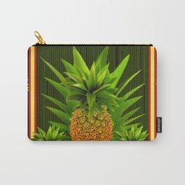 MODERN ART GREEN-BLACK  HAWAIIAN PINEAPPLE ART Carry-All Pouch