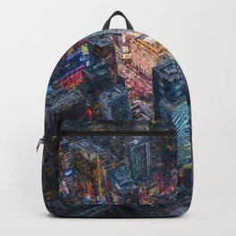 Times Square neon city lights, Midnight landscape painting Backpack