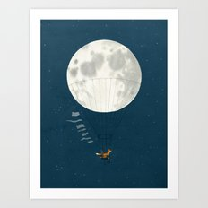 Full moon and foxes Art Print
