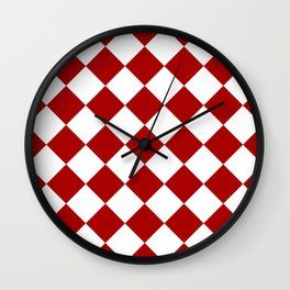 Red and white square pattern Wall Clock