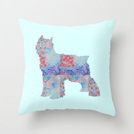 Bouvier Des Flandres Vintage Floral Pattern Blue Red Coral Pink Throw Pillow