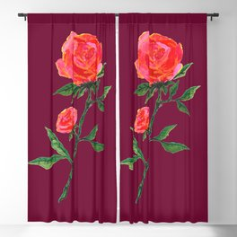Red Rose on WineRed Blackout Curtain