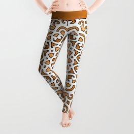 16 Fold Mandala in Orange Leggings