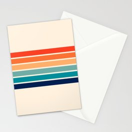 Tadama - Colorful Classic 70's Vintage Style Retro Summer Stripes Stationery Cards