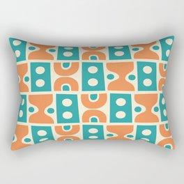 Funky Mid Century Modern Pattern 694 Orange and Turquoise Rectangular Pillow