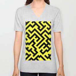 Black and Electric Yellow Diagonal Labyrinth Unisex V-Neck