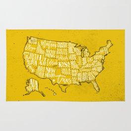 Map USA vintage yellow Rug