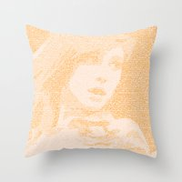 hayley williams Throw Pillows featuring Hayley Williams Lyric Portrait by Emily Becker