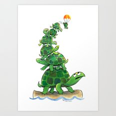 Teetering Turtle Tower Art Print