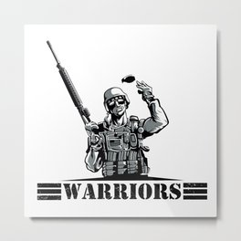 Soldier with rifle and grenade  Metal Print