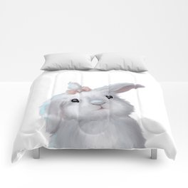 White Rabbit Girl isolated Comforters