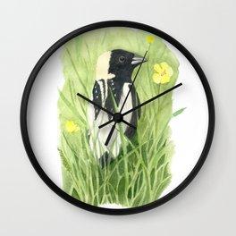 Male Bobolink in Field Wall Clock