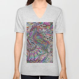 Unicorn Mandala Psychedelic Pattern Ink Drawing Unisex V-Neck