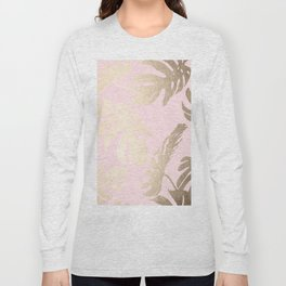Simply Tropical Palm Leaves White Gold Sands on Flamingo Pink Long Sleeve T-shirt