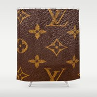 lv Shower Curtains featuring LV Brown Logo  by Luxe Glam Decor