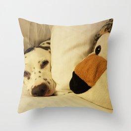 Dalmatian Tiger Nap Throw Pillow
