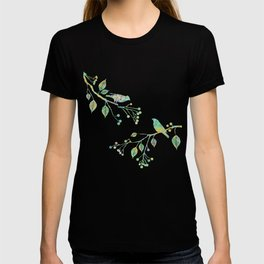 Birds on Branches Love Bird Couple Vintage Floral Pattern Green Yellow Blue T-shirt