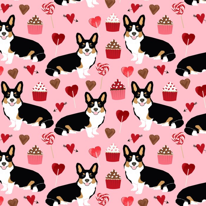 Welsh corgi valentines day gifts tri colored corgis cupcakes hearts love dog breed corgi crew Leggings