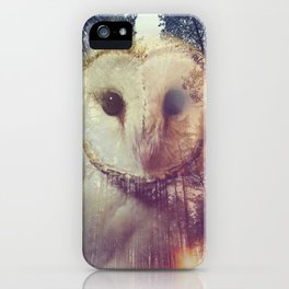 Merge owl and forest reflection iPhone Case