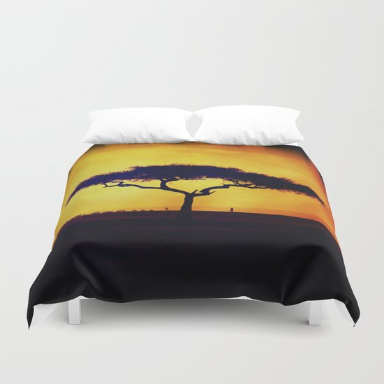 African Farmers Sunset Zebra Duvet Cover