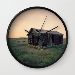 Abandoned Homestead at Sunset Wall Clock