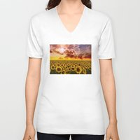 sunflowers V-neck T-shirts featuring sunflowers by Bekim ART