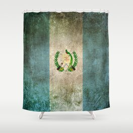Old and Worn Distressed Vintage Flag of Guatemala Shower Curtain