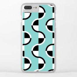 Geo Modern - Geometric Pattern Blue Black White Clear iPhone Case