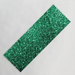 Beautiful Emerald Green glitter sparkles Yoga Mat