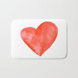 Red Watercolor Heart Bath Mat