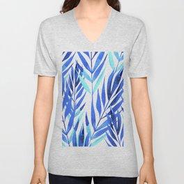 Royal Blue & Aqua Leaves Graphic Art Designs Unisex V-Neck
