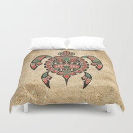 Vintage Red and Green Haida Spirit Sea Turtle Duvet Cover
