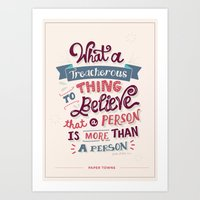 paper towns Art Prints featuring Paper Towns: Treacherous Thing by Risa Rodil