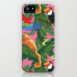 Rainforest Animals Botanical Repeat iPhone Case
