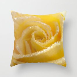 Yellow Romance - Yellow Rose with sparkling waterdrops - Roses Throw Pillow