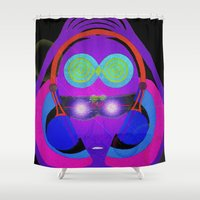 dj Shower Curtains featuring DJ Glow by Vibrance MMN