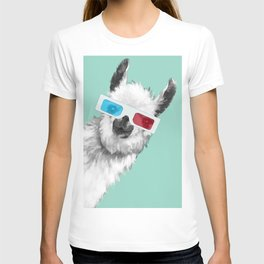 Sneaky Llama with 3D Glasses #01 T-shirt