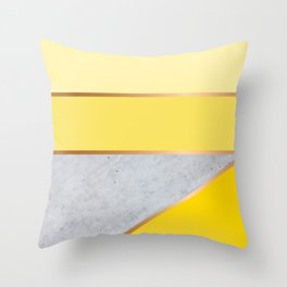 Sunny Yellow - Minimal Concrete Geometric Abstract Throw Pillow