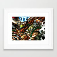 power ranger Framed Art Prints featuring Legendary Green Power Ranger & Dragonzord by sn33ky