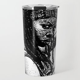 Drawing of Michonne from the Walking Dead Travel Mug