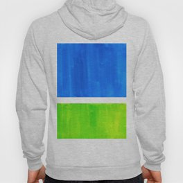 Abstract Minimalist Mid Century Modern Watercolor Geometric Squares Rothko Lime Green Marine Blue Hoody