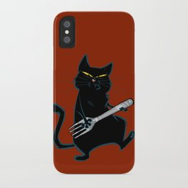 Cat with a fork iPhone Case
