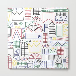 Basquiat & Volpi inspired pattern  Metal Print