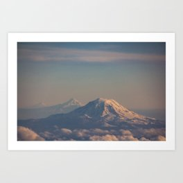 Three Mountain Peaks above the Clouds Art Print
