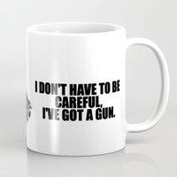 gun Mugs featuring gun by muffa