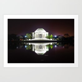 Jefferson Memorial & Tidal Basin Midnight Photographic Art Print