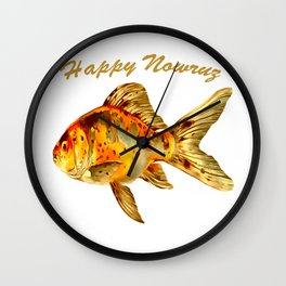 Elegant Happy Nowruz Goldfish Persian New Year Wall Clock