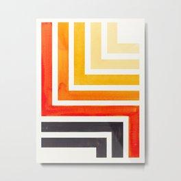 Orange Mid Century Modern Watercolor Colorful Ancient Aztec Art Pattern Minimalist Geometric Pattern Metal Print