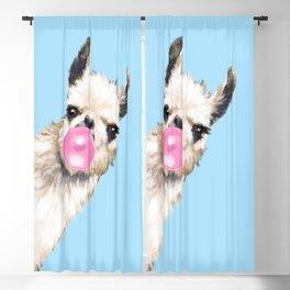 Bubble Gum Sneaky Llama in Blue Blackout Curtain